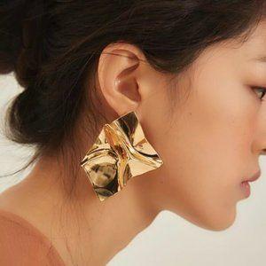 Gold Sheet Statement Earrings